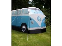 Novelty blue adult 'VW camper van' tent - as featured in the Daily Mail.