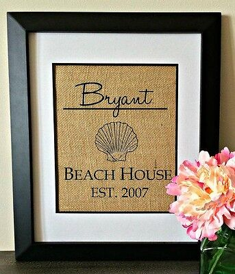 Personalized Burlap Print BEACH HOUSE Wall Art Established Sign CUSTOM - Established Sign