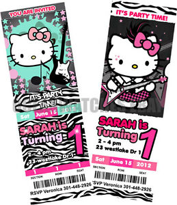 HELLO KITTY ZEBRA BIRTHDAY PARTY INVITATIONS Tickets Custom Personalized Invites