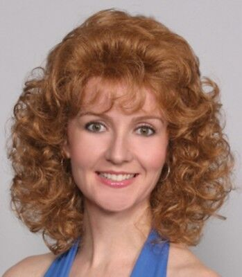 60S 70S WOMENS SHORT ABOVE THE SHOULDER LAYERED BODY WAVY CURLS CURLY WIG AMBER 60s 70s Wigs