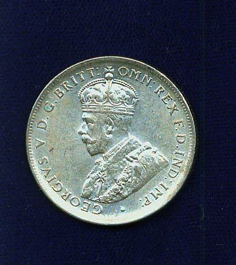 AUSTRALIA  GEORGE V  1917-M  1 FLORIN SILVER COIN  ALMOST XF!