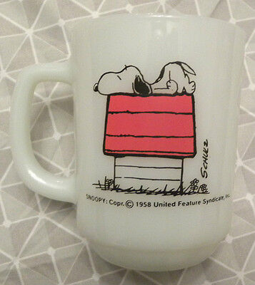 1958 Snoopy Fire-King Mug, I'm Allergic To Morning, Peanuts, Anchor Hocking