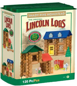 Lincoln Logs Set Blocks building wood vintage log toys fort box pcs lot frontier