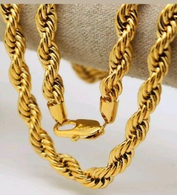 Italian made 4mm 24inch 14k Gold plated rope chain With Gift box Brand new 24' Italian Rope Chain