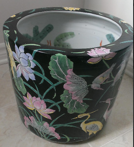 Vintage Chinese Hand Painted Fish Bowl - $95