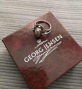 Georg Jensen Silver Ring # 1A - MOONLIGHT BLOSSOM - Size 6-1/2