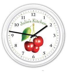 Cherry Cherries Kitchen PERSONALIZED Wall Clock Baker Cook GREAT GIFT