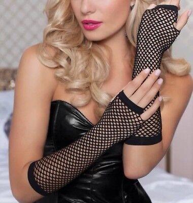 NEU Lang Netzhandschuhe Armstulpen Fingerlose Gothic Kostüm Schwarz