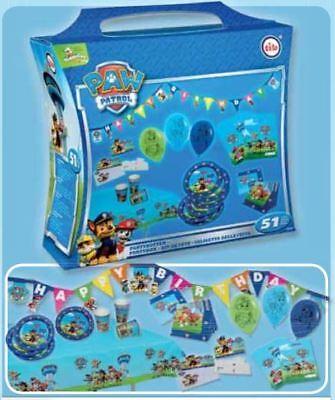 tib® Party Koffer PAW PATROL blau für Jungen 51 tlg. Partybox für 6 Personen * (Geburtstagsparty Für Jungen)