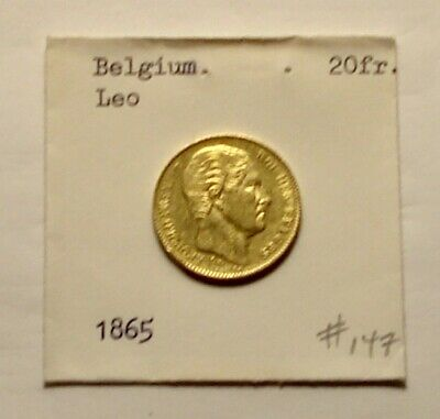 Belgium 20 Francs Gold Coin Leo 1865 Very Fine Condition