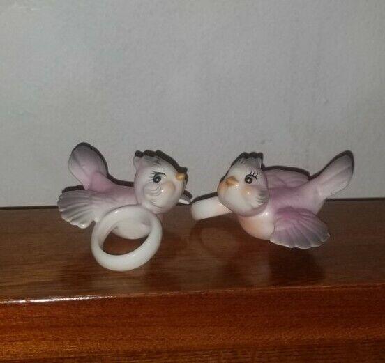 Holt Howard Norcrest Napco Pink Birds Ceramic Candle Climber Ring Hugger Set 2