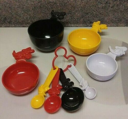 Two Sets of 4 Mickey Mouse Plastic Measuring Cups and Spoons