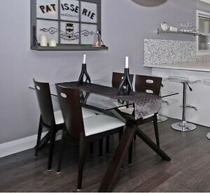 * Wood and Glass Table with 4 Chair Set *