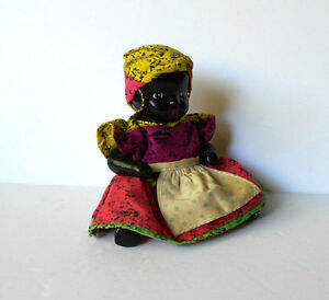 Vintage Black Americana Ceramic Bisque Doll painted jointed