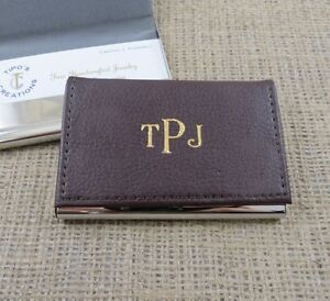 Business Card Holder Brown Leather Gifts for Men fice