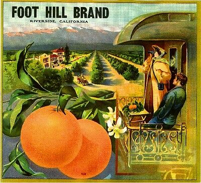 Riverside Foot Hill Foothill Train Orange Citrus Fruit Crate Label Art Print
