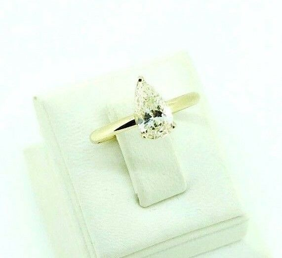 Solitaire Pear Diamond TCW 0.75 GIA 14k Yellow gold Engagement Ring bridal