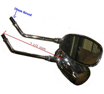 - Chrome Oval Mirrors set  (10mm thread) for Moped Scooter