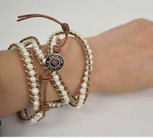 Victoria Emerson freshwater pearl brown leather wrap bracelet