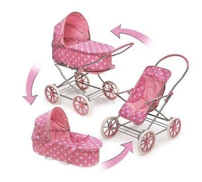 3-in-1 Doll Toy Pram,Carrier & Stroller - Fits American Girl18