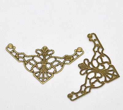 Bronze 4 (50 Bronzefarben Filigran Triangel Verschlüsse 4.8x2.6cm KUS)