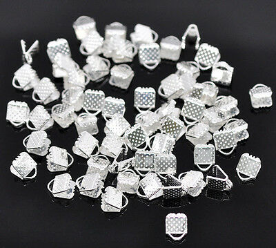 100 Silver Plated Ribbon End Clamps Cord Ends - 6mm Jewellery Findings J14705