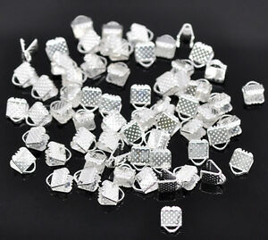 100 Silver Plated Ribbon End Clamps Cord Ends - 6mm Jewellery Findings J14705K