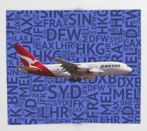 Qantas Airbus A380 with Airport Codes (Blue) - 51x60 Throw Blanket
