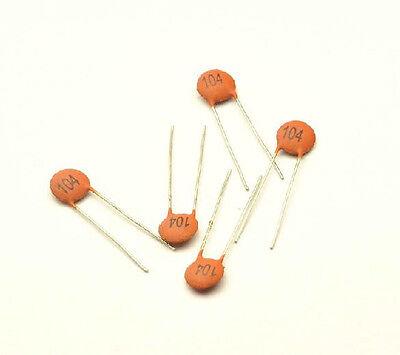 100pcs Ceramic Disc Capacitors 50v 100nf 0.1uf 104pf