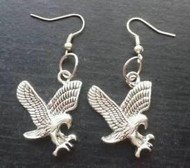 Tibetan Eagle silver earrings