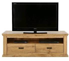 Clifton Wide TV UNIT- Fits TVs with a screen size up to 60 inch, *Rustic Oak* H 50, W 141, D 44 cm