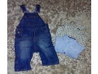 3-6 Months Baby Boy Dungarees and Shirts x 2. Baby GAP and Mignolo