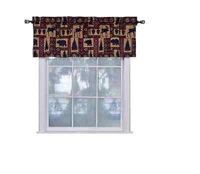 Valance Tapestry - Pine Creek Lodge Tapestry Window Valance,Modern Rustic Woven Pattern 54