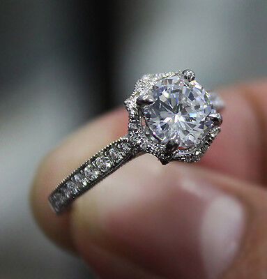 1.10 Ct. Natural Round Cut Floral Pave Diamond Engagement Ring - GIA Certified 2