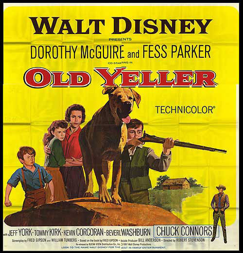 OLD YELLER orig large 6-sheet poster TOMMY KIRK/CHUCK CONNORS/DOROTHY MCGUIRE