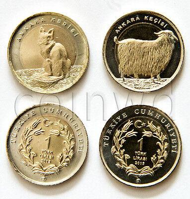 - TURKEY 2 ANIMALS COINS SET 2015 CAT GOAT UNC (#1181)