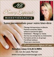 MASSOTHERAPIE by NANCY LAPOINTE 514-813-9894 (Mercier)