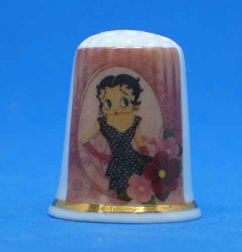 Birchcroft China Thimble --  Betty Boop Roses  -  Free Dome Gift Box