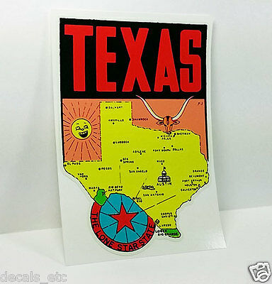 State of Texas Vintage Style Travel Decal / Vinyl Sticker, Luggage Label