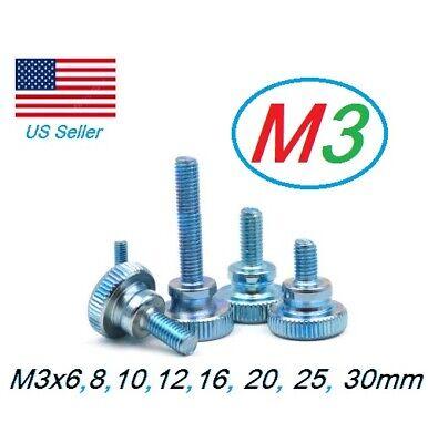 10pcs M3 Fully Threaded Knurled Thumb Screws Bolts 6mm 810 1216 20 2530mm
