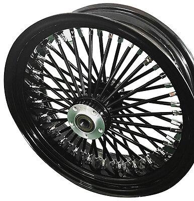"Black/Black Ultima 48 King Spoke 16"" x 3.5"" Rear Wheel for Harley and Models"