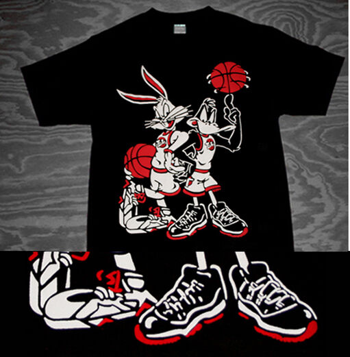 New 11 Space Jam Bugs Bunny Daffy bred tune squad shirt  in xi jordan Caj mear L