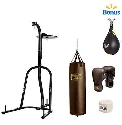 Dual Station Heavy Bag Stand with 100lb. Kit & Speedbag Boxing Punching Training