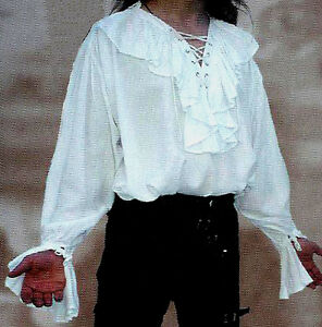 NEW Goth/Pirate/18th Century Mens White Ruffled Shirt, L