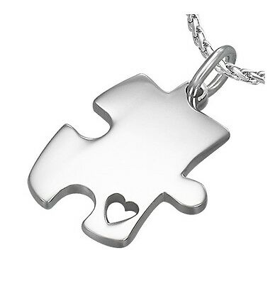 Puzzle Piece Heart Autism Awareness 316 Stainless Steel Pendant Necklace - Puzzle Piece Heart