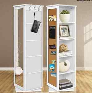 5 Cube Rotating Swivel Storage Cabinet Shelves Mirror