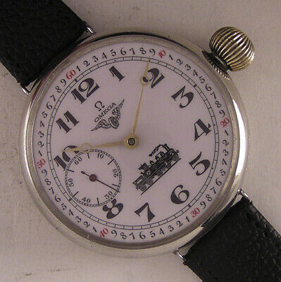 Vintage RAILROAD CHRONOMETRE OMEGA 1924 Hi Grade Huge Wrist Watch MINT Serviced