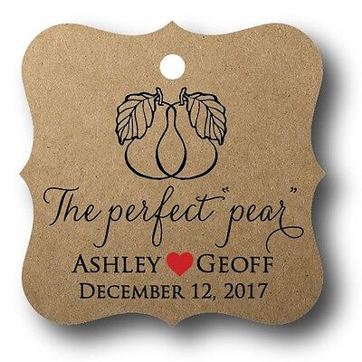 24 The Perfect Pear Personalized Wedding Favor Tag Bridal Shower Tag - Pear Wedding Favor