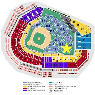 2 FIELD TIX  ZAC BROWN BAND  8/21  BOSTON MA  FENWAY PARK  FIELD TURF B1 ROW 1