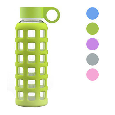 GEO Sports Bottle 12oz Glass Reusable Small Mini Water Bottle w/ Silicone Sleeve - Small Reusable Water Bottles